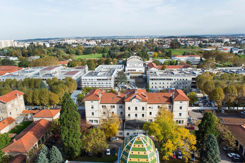 Travaux de végétalisation de toiture du Centre Hospitalier Le Vinatier à Bron, Lyon, Rhône